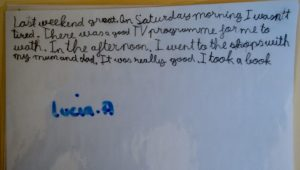A1J Guadarrama writing about weekend 2